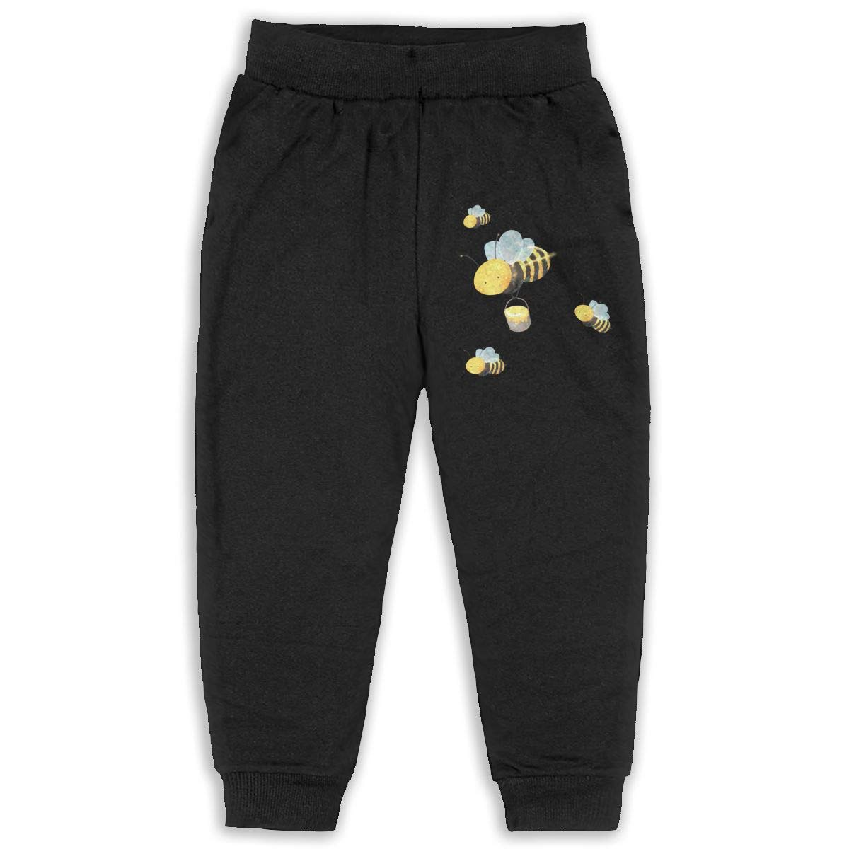 Uyikuvt Sweatpants Cute Bumblebee Pattern Cotton Toddler Active Jogger Full-Length Regular Size Pants Kids