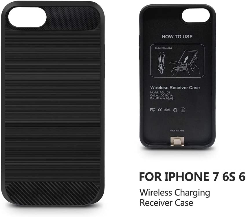 ANGELIOX Wireless Charger Charging Receiver Back Cover,Soft TPU Protective Case,Brushed Surface Finish,with Cable Charging Port Qi Wireless Charging Case for iPhone 7//6 Not Battery 4.7 inch