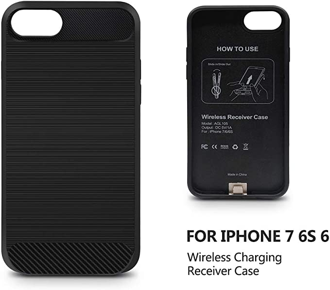 Qi Wireless Charging Case for iPhone 7//6 4.7 inch Not Battery ANGELIOX Wireless Charger Charging Receiver Back Cover,Soft TPU Protective Case,Brushed Surface Finish,with Cable Charging Port