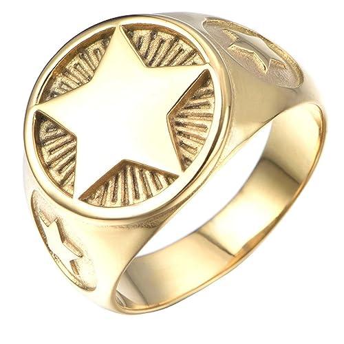 PAURO Hombre Acero Inoxidable Pentagrama De Oro / Plata Cinco Puntiagudos Anillo De Estrella Estilo De Signet: Amazon.es: Joyería