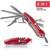 TopSpirit Couteau de Poche 9 Fonctions Switzerland 9 en 1 Multifonction avec Grip et Outils Multifonctions 10 cm
