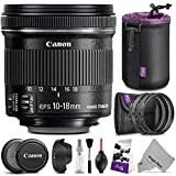 Canon EF-S 10-18mm f 4.5-5.6 IS STM Wide Angle Lens w Essential Bundle - Includes: Altura Photo UV-CPL-ND4 - Dedicated Lens - Neoprene Lens Pouch - Camera Cleaning Set