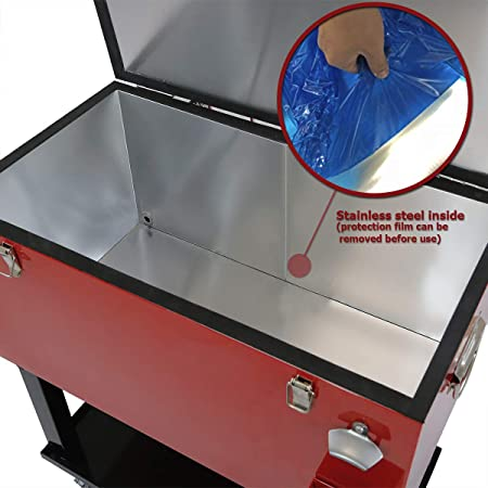 Clevr 68 Quart Qt - Hielera para patio con parte superior de mesa de futbolín, barra portátil para fiesta de patio, carrito de bebidas frías con ruedas con estante para bandejas, carrito