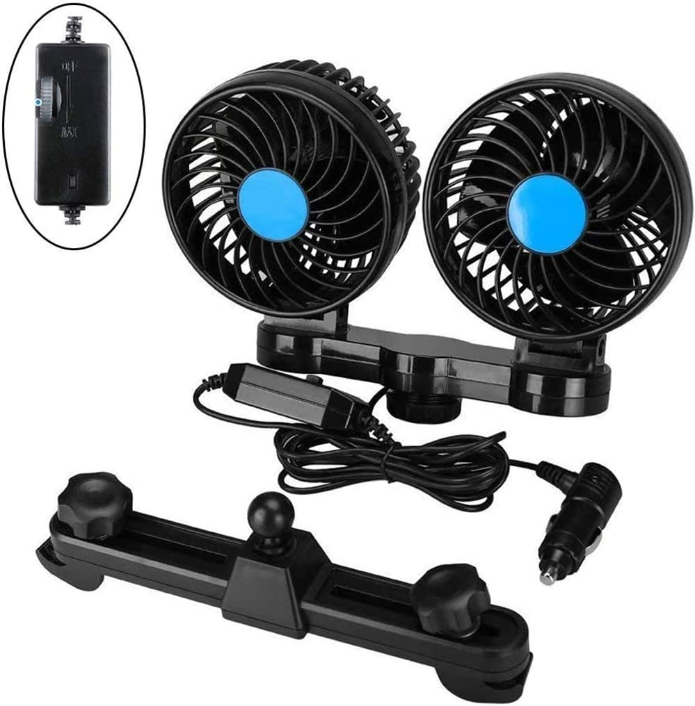 12V Dual Head Car Fan, Electric Auto Cooling Fan with 360 Degree Rotatable, Rear Seat Air Fan with Stepless Speed Regulation, for Sedan SUV Auto Vehicles RV Boat