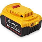 QUPER 20V 6.0mAh DCB200 MAX XR Lithium Ion Battery Replacement for Dewalt DCB205-2 DCB206 DCB206-2 DCB204 DCB204BT-2 DCB203 DCB201 DCB200 20V Battery