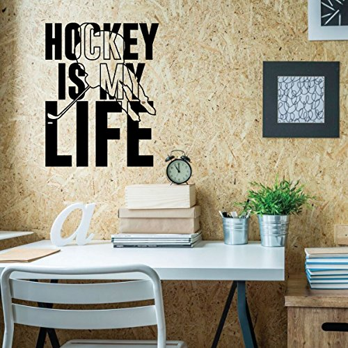 Hockey Wall Decor - Hockey Is My Life - Vinyl Decal For Teen, Boy's Bedroom or Playroom - Sports Decorations