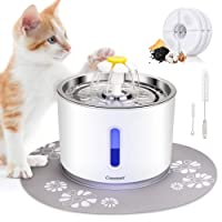 Comsmart Cat Water Fountain, 81oz/2.4L LED Pet Fountain Stainless Steel Automatic...
