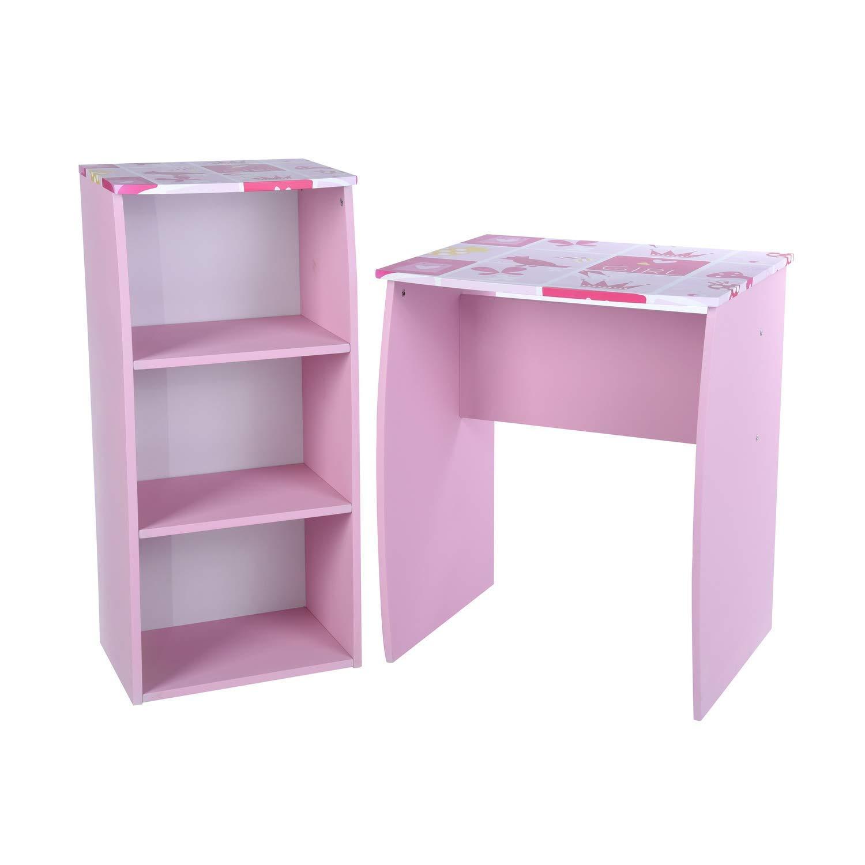 GreenForest Kids Desk with 3 Tier Storage Shelf Wood Computer Laptop Desk Set for Girls Study Desk Set Pink by GreenForest (Image #2)