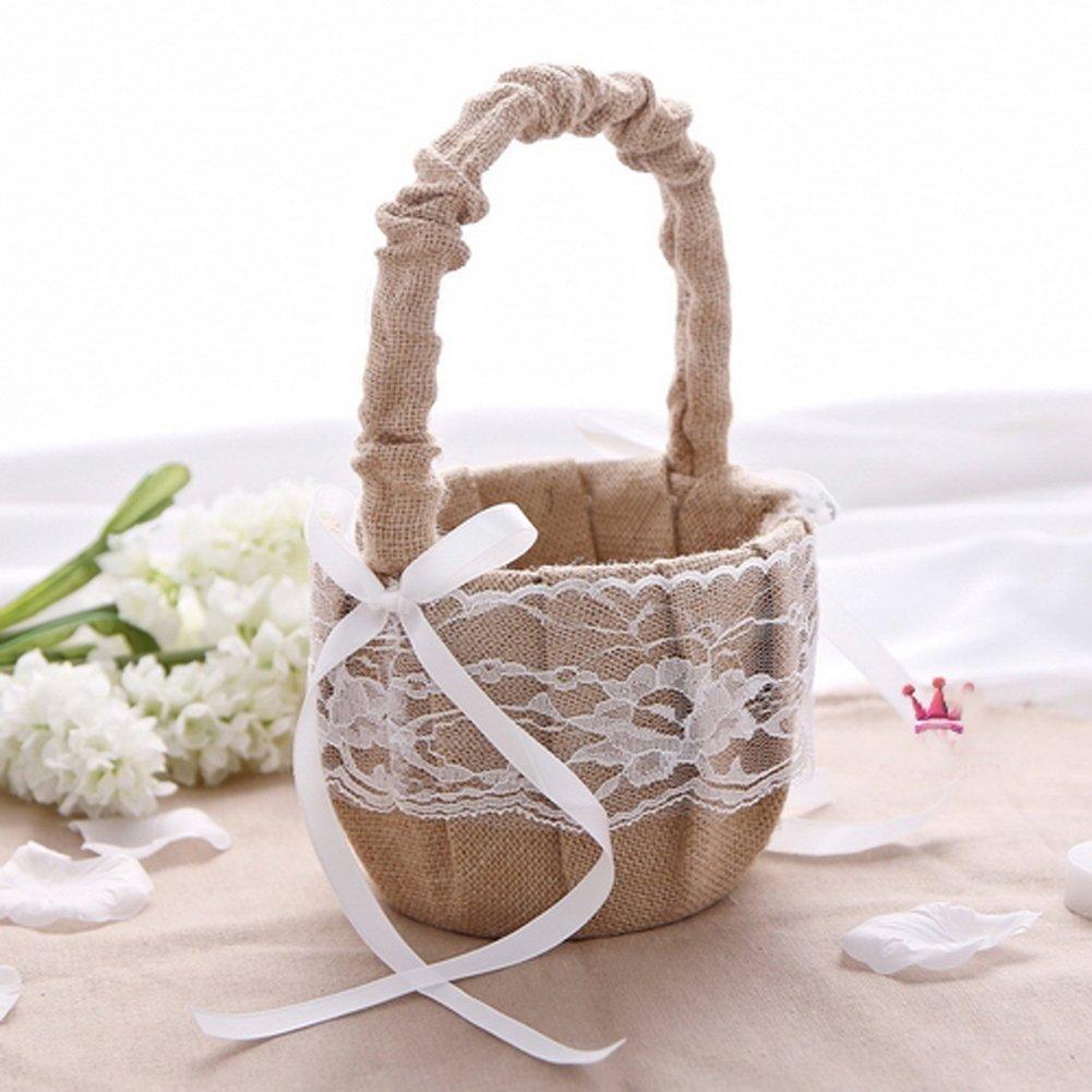 Hessian Burlap Lace Flower Girl Basket Rustic Wedding Decoration Favor by AllHeartDesires