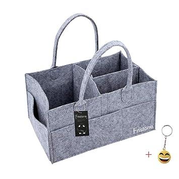 FRISTONE Cajas para pañales Nursery almacenamiento bin cesta de fieltro bolsa de organizador Basura pañales toallitas Bebé bolsa de almacenamiento Caddy ...
