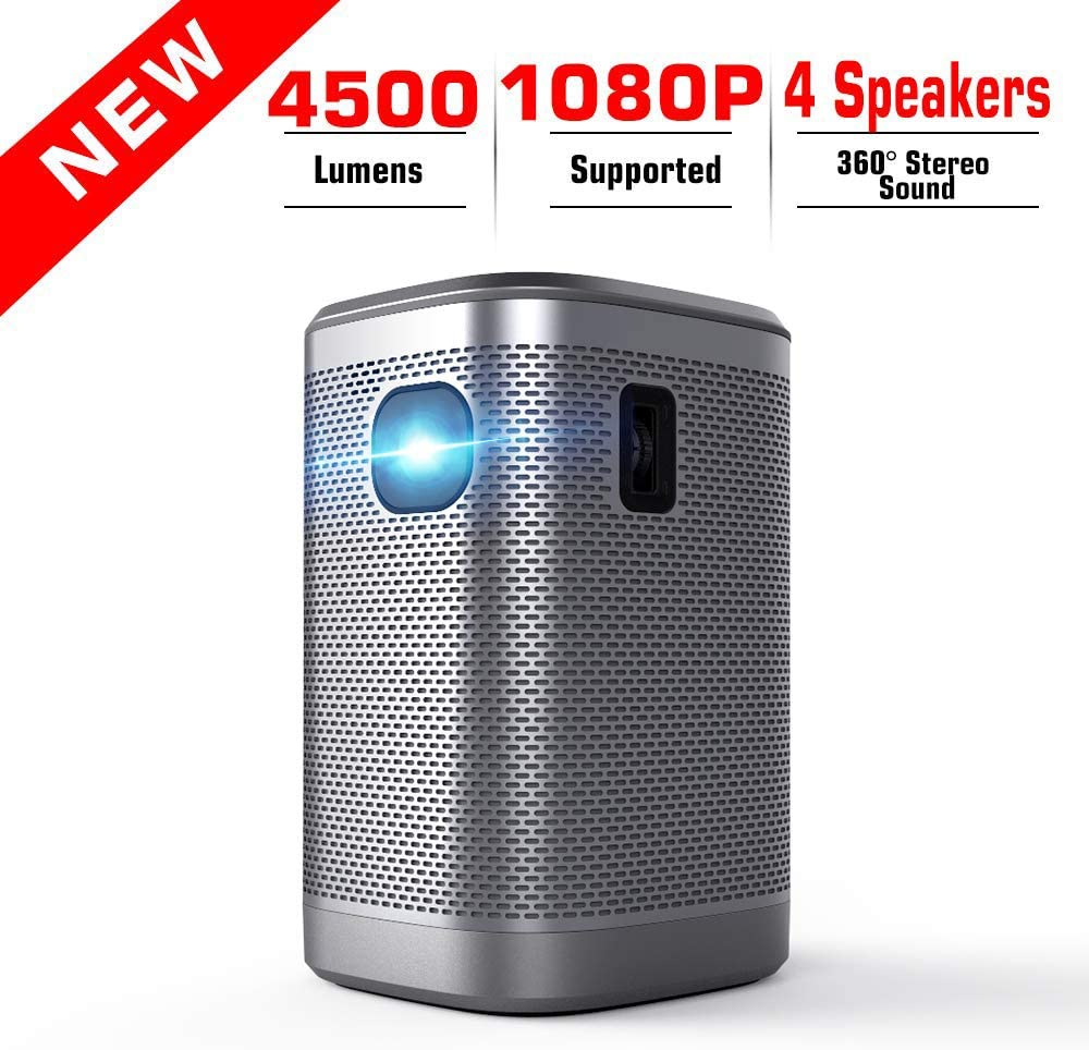 """Portable Projector 4500 Lumens Support 1080P HDMI WiFi Bluetooth Mini Projectors Audio 200"""" Home Theater Outdoors Gaming Smart Video Projector IPhone Laptop Type-C DLP USB SD Sound Stereo Speakers"""