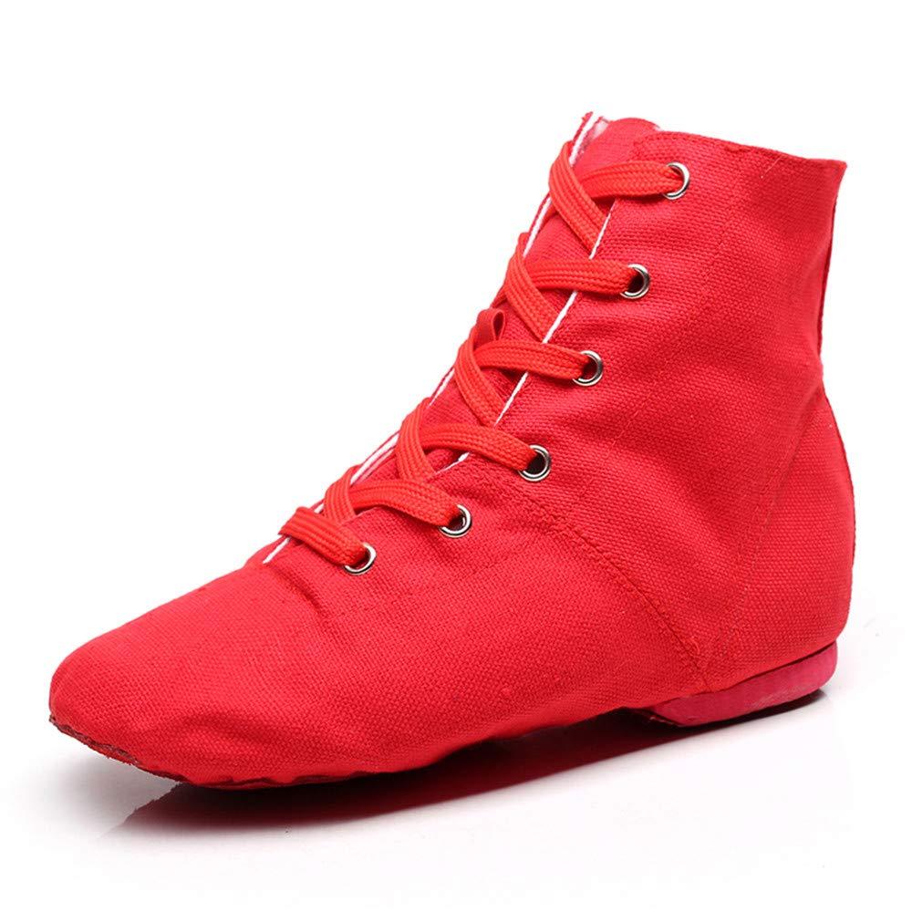 YOYODANCE Zapatos de Baile de Lona con con con Cordones Planos para Práctica de Baile, Botas de Jazz para Hombres y Mujeres 0d3706