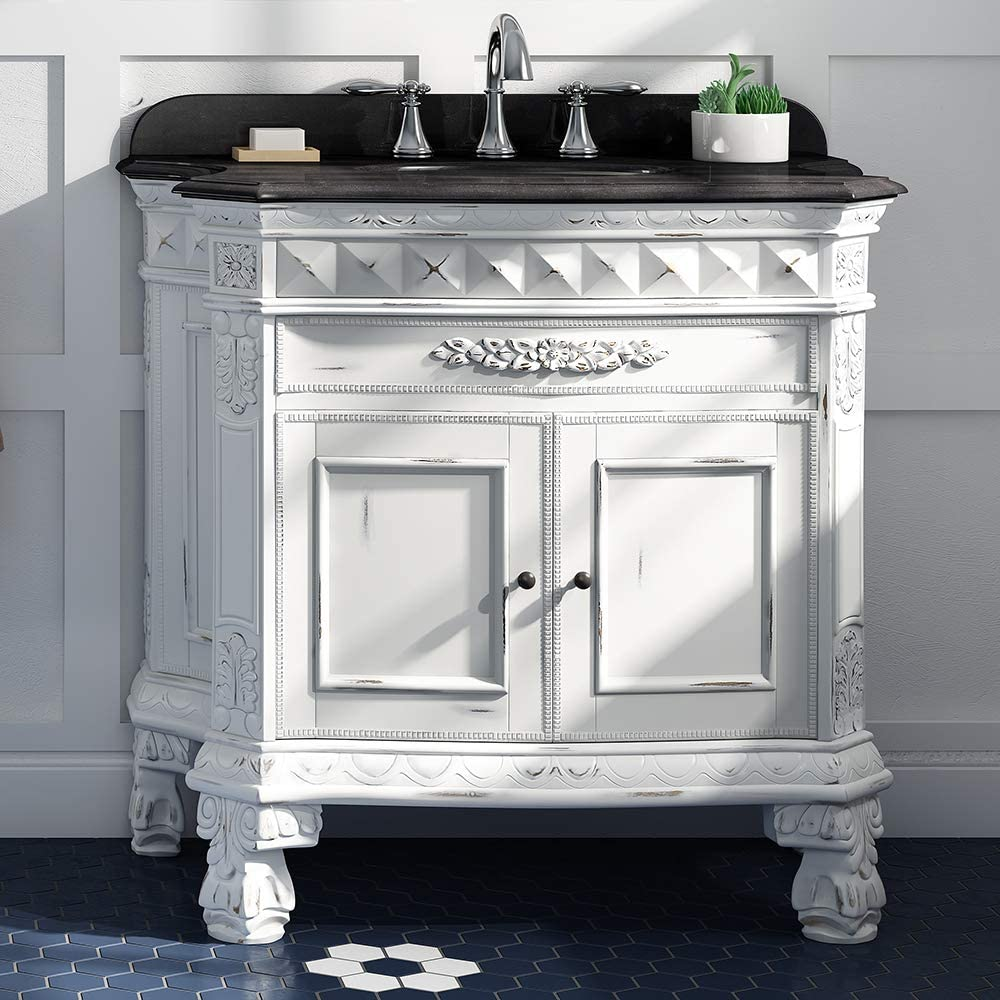 Ove Decors Islay 36 in. Bathroom Vanity and Sink Combo Carved Cabinet with Black Granite Top   Backsplash Included, Antique White Gold Brushed