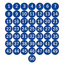 """NAVAdeal 2"""" Blue Round Number 1-50 Adhesive Stickers Identify Inventory Storage Labels"""