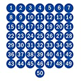 "NAVADEAL 2"" Blue Round Number 1-50 Adhesive"