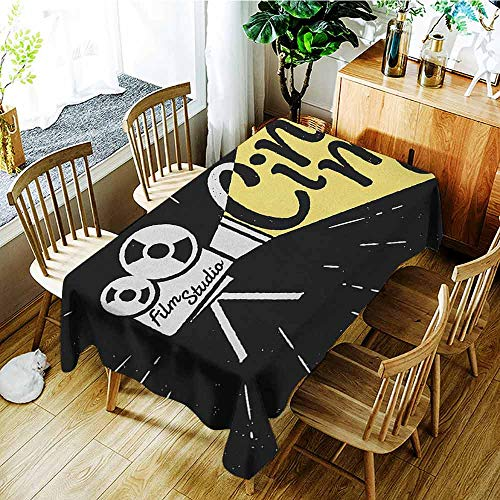 - XXANS Elastic Tablecloth Rectangular,Movie Theater,Movie Projector Sketch with Grunge Cinema Lettering on Black Backdrop,High-end Durable Creative Home,W60x120L Yellow Black White
