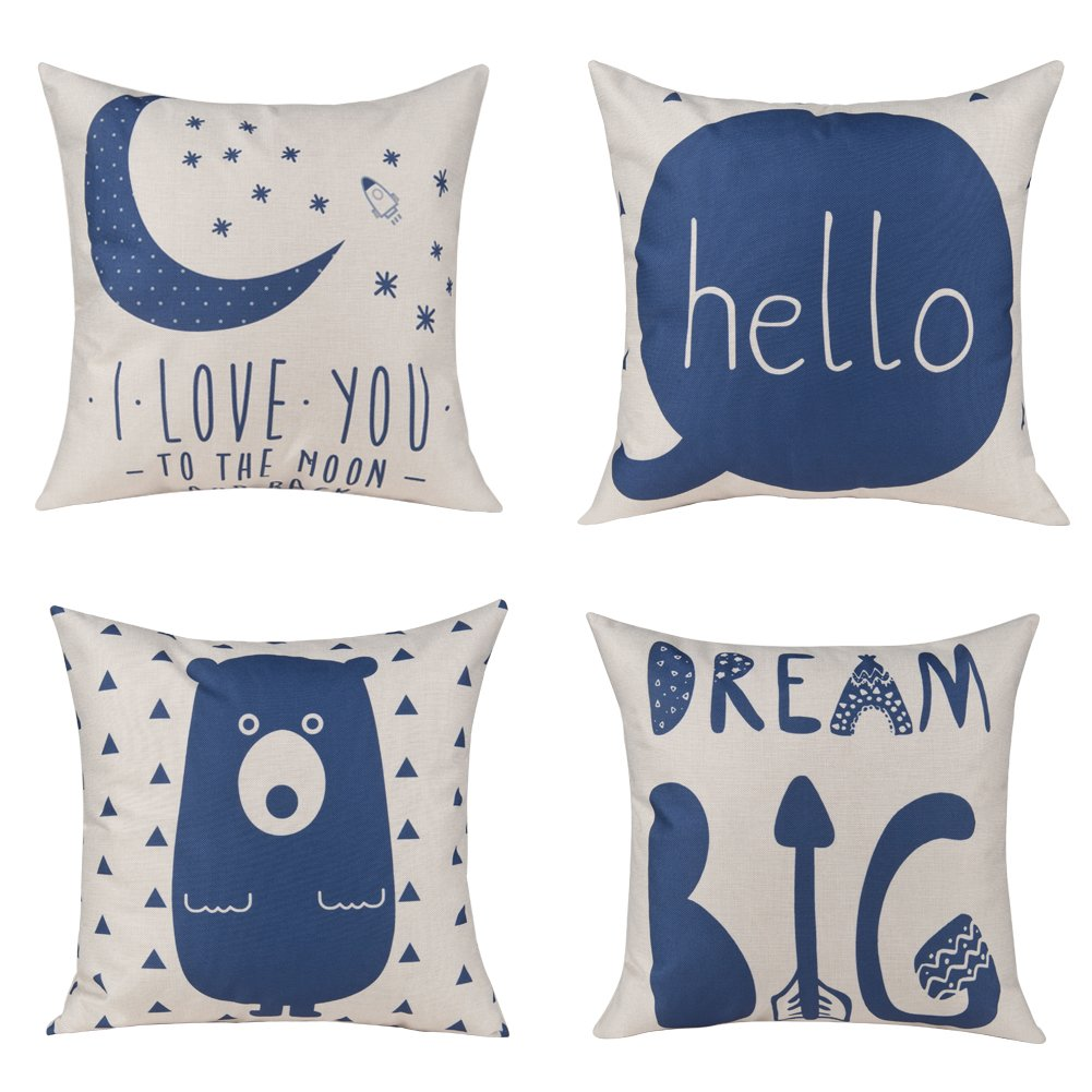 Unique Warm Childrens Room Decor Outdoor Sofa Home Pillow Covers Cute Cartoon Cotton Linen Cushion Covers 18 X 18 Inches Pack of 4