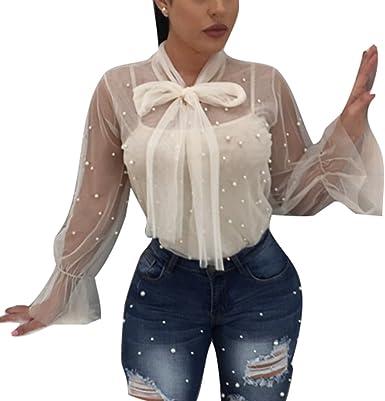 Mujer Sexy Camiseta Transparente, Moda Primavera Verano Casual Blusa con Cuentas Decoradas Manga Larga T-Shirt Camisa Clubwear Tops S-2XL: Amazon.es: Ropa y accesorios