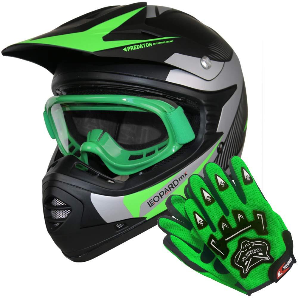 5-6 Yrs Leopard LEO-X19 PREDATOR { Kids Motocross Helmet /& Gloves /& Goggles Green XL } Child Dirt Bike Motorocycle Helmet Clothing Suit S