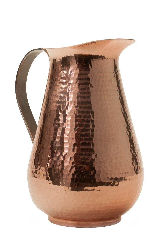 Sertodo Copper, Hand Hammered 100% Pure Copper, Bisotun Water Pitcher with handle, 76 fl. oz.