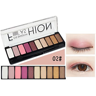 Huamianli Vovomay Women's Long Lasting Waterproof Sweat Eye Shadow, Professional 10 Colors Shimmer Matt Smoky Eyeshadow Palette Makeup Set (b)