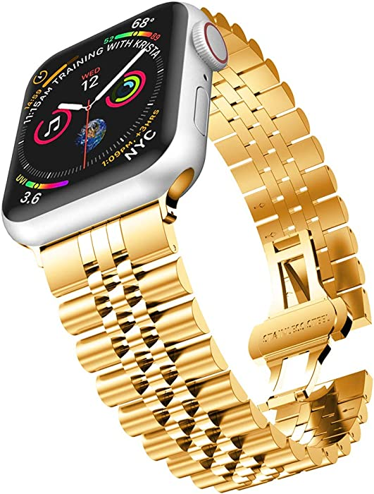 baozai Compatible with Apple Watch Band 44mm 42mm, iWatch SE& Series 6 5 4 3 2 1 Stainless Steel Strap with Butterfly Folding Clasp for Men (Gold)