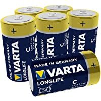 Varta Longlife C Baby LR14 Batterij (verpakking met 6 stuks) Alkaline Batterijen – Made in Germany – ideaal voor…