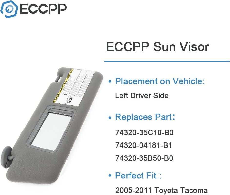 ECCPP Beige Sun Visor Left Driver Side fit for 2006 2007 2008 2009 2010 2011 for TOYOTA Camry Sedan 4-Door Automobile Windshield Visor with Sunroof Vanity Light