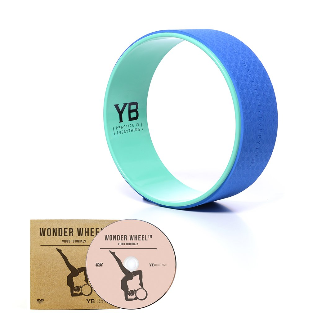 YOGABODY Jumbo Yoga Wheel, The Wonder Wheel, DVD and PDF Pose Chart Included, Teal/Blue