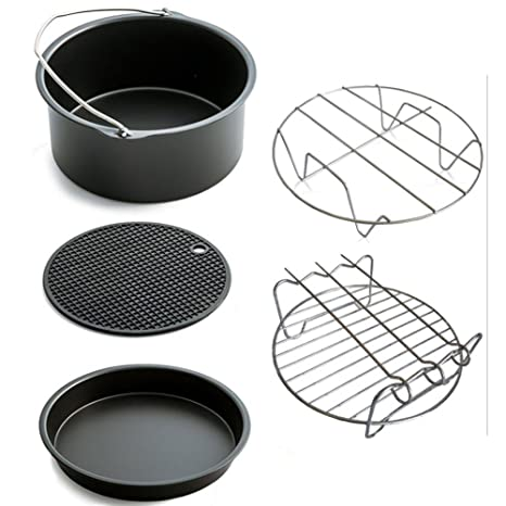 Air Fryer Accessories,for Phillips Air Fryer and Gowise Air Fryer Deep Fryer Universal, Cake Barrel, Pizza Pan, Silicone Mat, Skewer Rack, Metal holder Fit all 3.7QT-5.3QT-5.8QT /(7 Inch/)