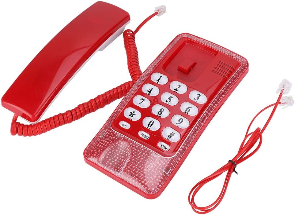 【???????????????????? ???????????????????????????????????? ???????????????????????? ????????????????????】 Wall Mount Landline Telephone Extension No Caller ID Home Phone for Hotel Family House(red)