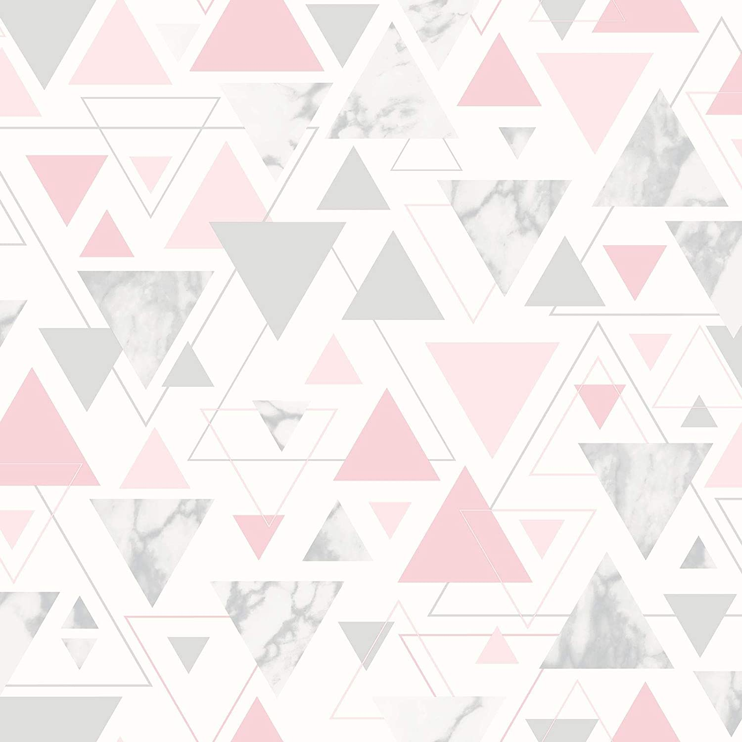 Debona Chantilly Pink Grey Silver Geometric Triangle Marble