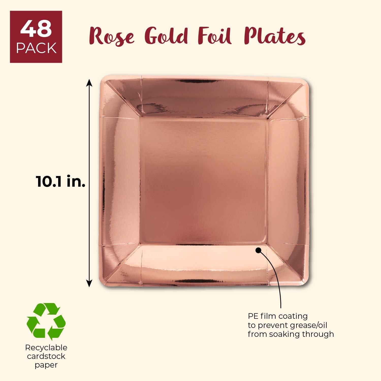 Juvale Lot de 48 assiettes carr/ées en papier aluminium pour d/éjeuner et d/îner 25,4 cm