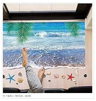 3d Dreidimensionale Wall Aufkleber Kokospalmen Und Das Meer Beach Post  Boden Bad Dekoration Aufkleber 60 *