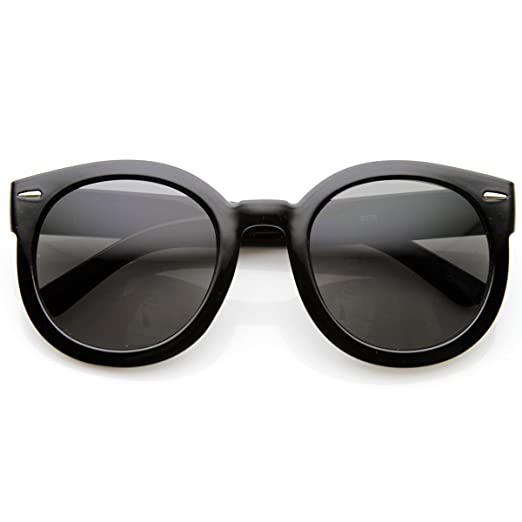 294d6e98b13 Amazon.com  zeroUV - Round Retro Oversized Sunglasses for Women with  Colored Mirror and Neutral Lens 53mm (Black Smoke)  Clothing