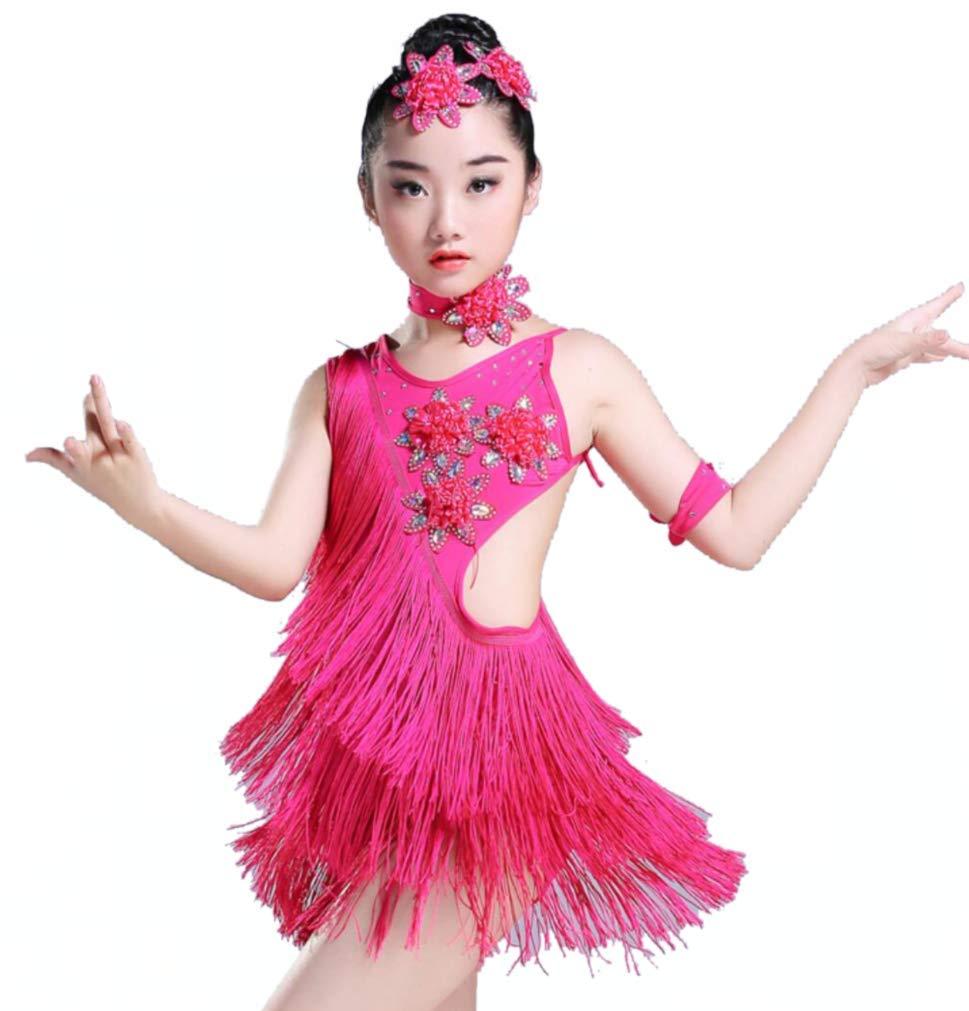 ZHANGQIANガールズラテンダンスドレス、タッセルパフォーマンスラテンガール子供用パフォーマンスダンスドレス、ピンク、130 CM B07R5JV7JJ