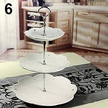 Fuente para pasteles de tres pisos, de pie, con asa, para decoración de