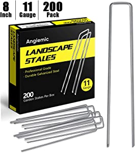 Angiemic 200 Pack 8 Inch Galvanized Landscape Staples 11 Gauge Garden Stakes Ground Staples Sturdy Rustproof Landscaping Staples Sod Pins for Anchoring Weed Barrier Landscape Fabric Ground Cover Fence