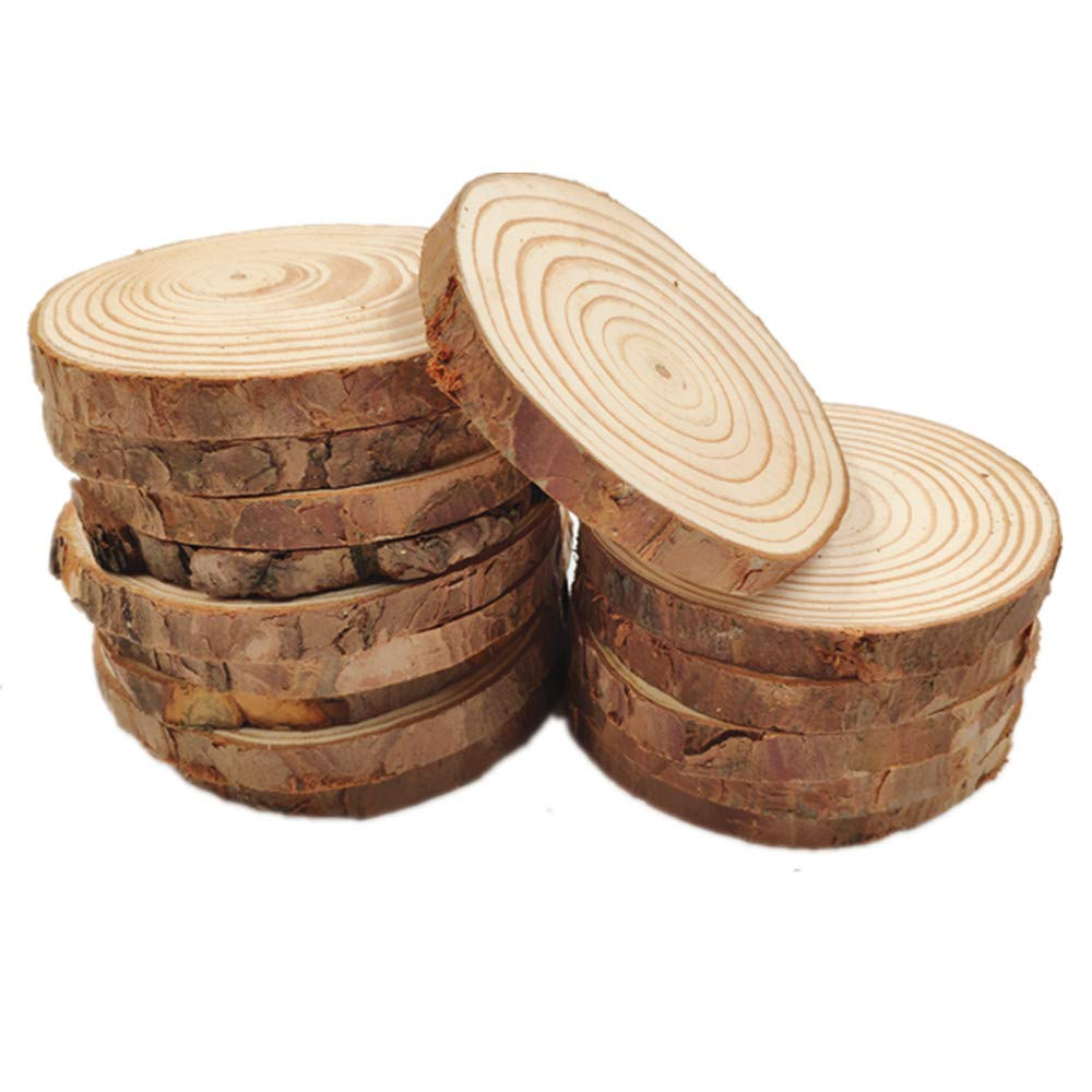 MUPIANLX Natural Wood Slices with Tree Bark Unfinished Round Wooden Discs for