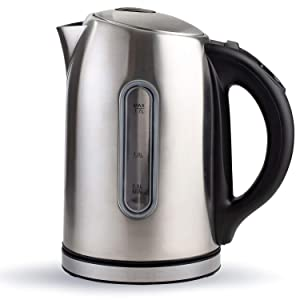 Electric Tea Kettle, Stainless Steel Cordless Pot 1.7 Liter, Temperature Control Hot Water Heater with LED Light, BPA-free Fast Boiling Teapot with Automatic Shut Off, Great For Home & Kitchen Use.