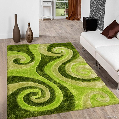 (Allstar 8x11 Green Modern Hand Carved Rectangular Shag Rug with Lime and Sage Green Swirl Design (7' 5