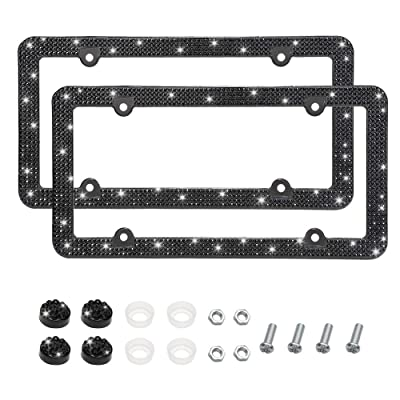 Otostar Bling Bling Car License Plate Frame, Handmade 8 Facets Rhinestones Stainless Steel License Plate Holder Cover with Screws Caps - 2 Pack (Black 4 Rows 4 Holes): Automotive