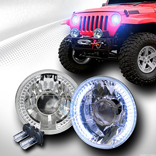 AutobotUSA 10000K HID XENON H4+7'' ROUND CHROME WHITE LED HALO PROJECTOR HEAD LIGHTS LAMP C1 by Autobotusa