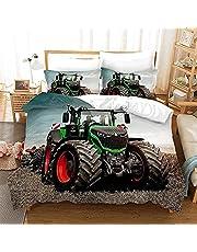 XBNGDF Påslakan 150 x 200 cm, traktor tryckt mjukt mikrofiber påslakan set med 2 örngott, dragkedja