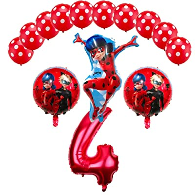 CuteTrees Ladybug 4th Birthday Balloons Set Party Decorations with ladybug balloon and latex balloons 14 pcs: Toys & Games