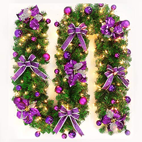 YOTHG Christmas Garland, Battery Powered 60 LED,Christmas Decor Lamps, Artificial Wreath with Berries and Pinecones Xmas Decorations for Stairs Wall Door (60 LEDs,Purple) (Christmas Purple Wreath)
