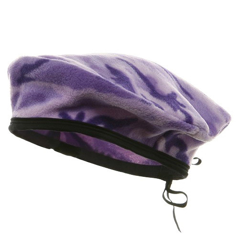 Camo Fleece Beret-Lilac
