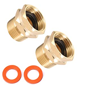 "Brass Garden Hose Adapter, 3/4"" GHT Female x 3/4"" NPT Male Connector,GHT to NPT Adapter Brass Fitting,Brass Garden Hose to Pipe Fittings Connect 2pcs (3/4"" GHT Female x 3/4"" NPT Male)"