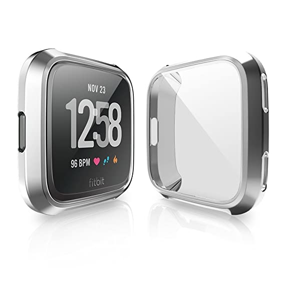 Case for Fitbit Versa, iHYQ Soft TPU Slim Fit Full Cover Screen Protector for Fitbit Versa Smart Watch (Silver)