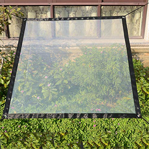 SUREH 2 x 3m Waterproof Clear Tarpaulin with Eyelets Canopies and Tarps Heavy Duty Clear Weatherproof Tarp Foldable Plant Canopy Rainproof Cover Rope Include